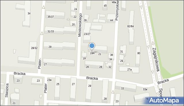 Łódź, Mostowskiego Tadeusza, 19A, mapa Łodzi