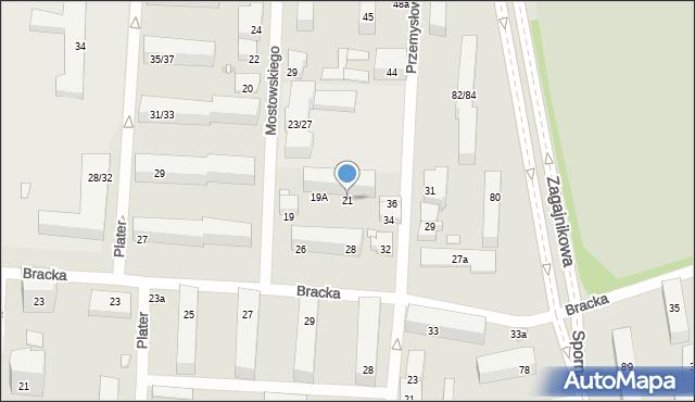 Łódź, Mostowskiego Tadeusza, 21, mapa Łodzi