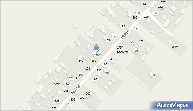 Mokre, Mokre, 186, mapa Mokre