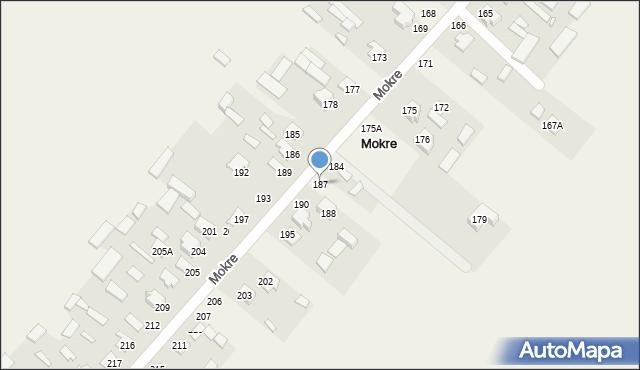 Mokre, Mokre, 187, mapa Mokre