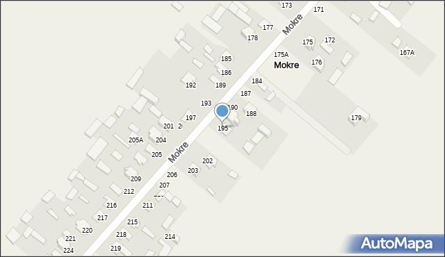 Mokre, Mokre, 195, mapa Mokre