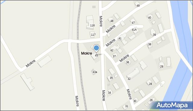 Mokre, Mokre, 43, mapa Mokre