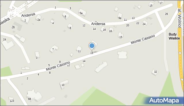 Przemyśl, Monte Cassino, 13, mapa Przemyśla