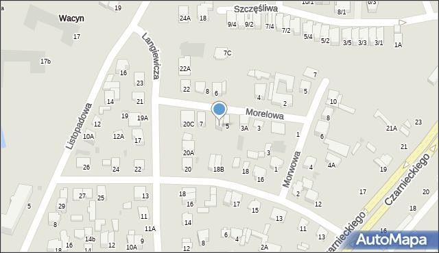 Radom, Morelowa, 5A, mapa Radomia