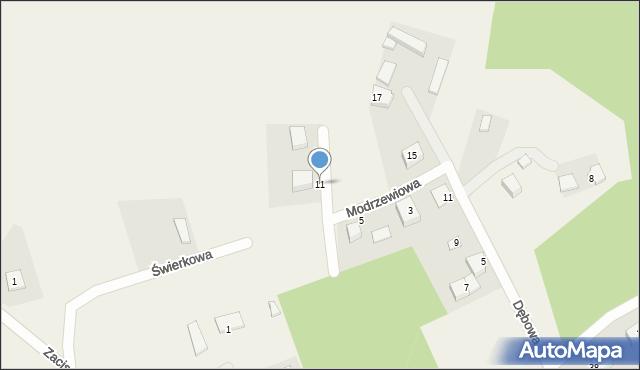 Robakowo, Modrzewiowa, 11, mapa Robakowo
