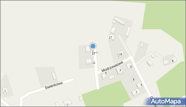 Robakowo, Modrzewiowa, 13, mapa Robakowo