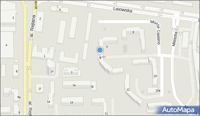 Rzeszów, Monte Cassino, 6, mapa Rzeszów