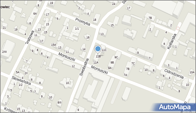 Sosnowiec, Moniuszki Stanisława, 11B, mapa Sosnowca