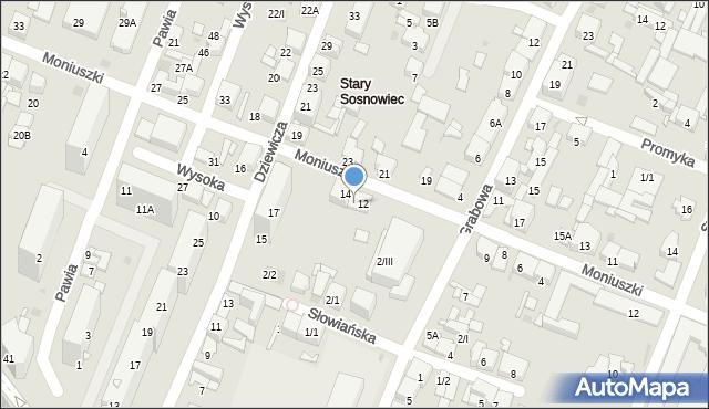 Sosnowiec, Moniuszki Stanisława, 14A, mapa Sosnowca