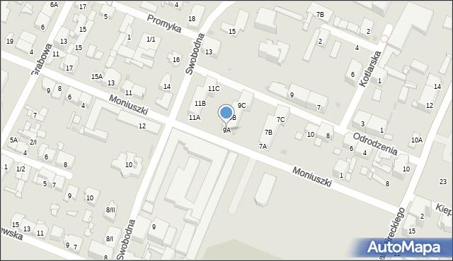 Sosnowiec, Moniuszki Stanisława, 9A, mapa Sosnowca