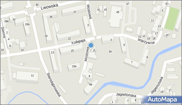 Tarnów, Mostowa, 4a, mapa Tarnów