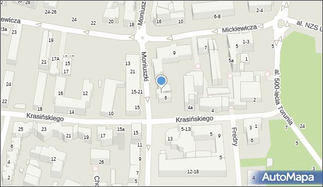 Toruń, Moniuszki Stanisława, 10, mapa Torunia