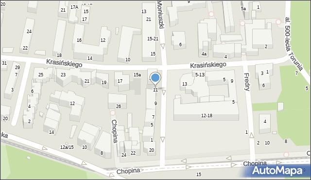 Toruń, Moniuszki Stanisława, 11, mapa Torunia