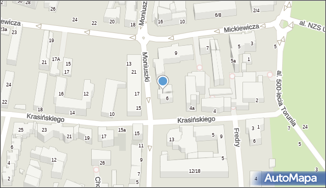 Toruń, Moniuszki Stanisława, 12, mapa Torunia
