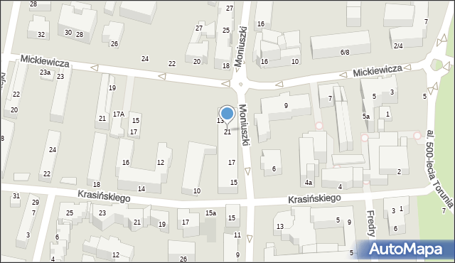 Toruń, Moniuszki Stanisława, 21, mapa Torunia