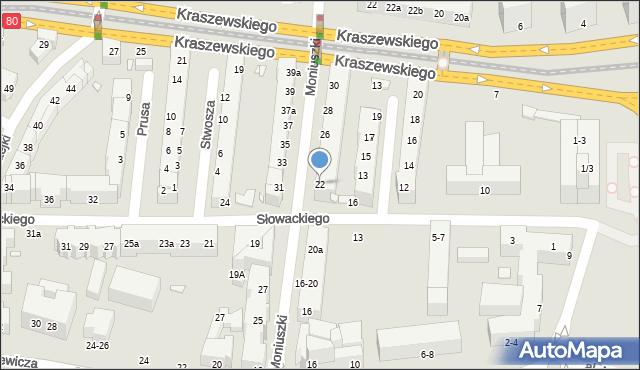 Toruń, Moniuszki Stanisława, 22, mapa Torunia