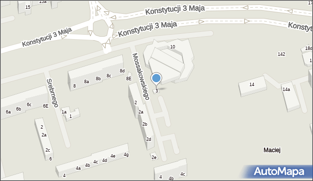 Toruń, Mossakowskiego Józefa, 3, mapa Torunia