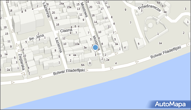 Toruń, Mostowa, 1, mapa Torunia