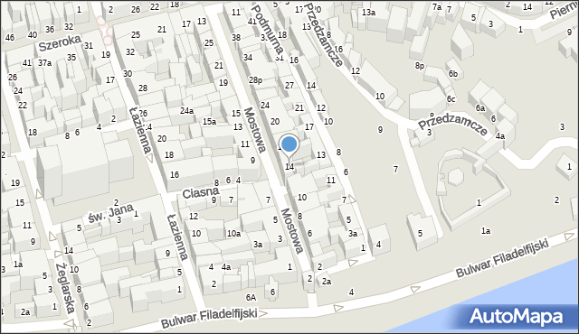 Toruń, Mostowa, 14, mapa Torunia
