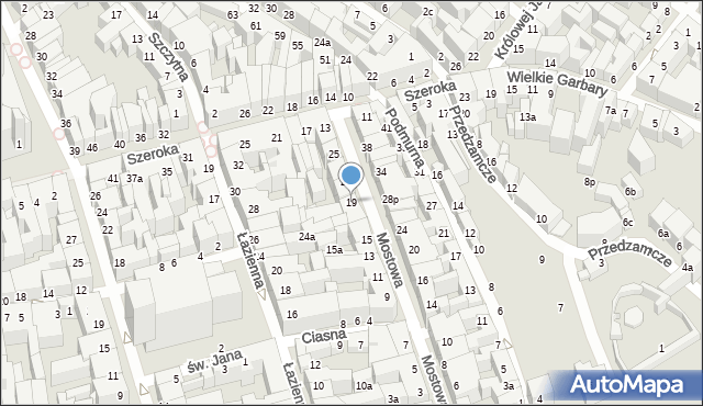 Toruń, Mostowa, 19, mapa Torunia