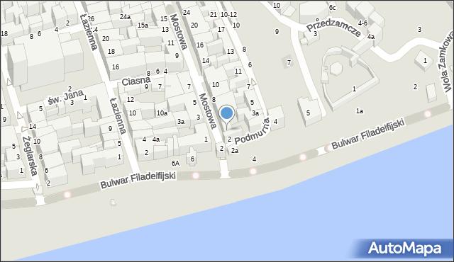 Toruń, Mostowa, 4, mapa Torunia