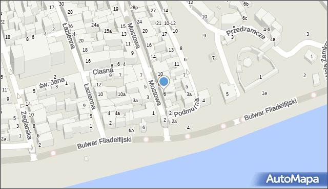 Toruń, Mostowa, 6, mapa Torunia