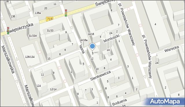 Warszawa, Moniuszki Stanisława, 3, mapa Warszawy
