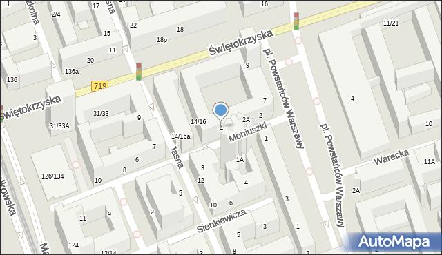 Warszawa, Moniuszki Stanisława, 4, mapa Warszawy