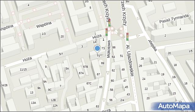 Warszawa, Mokotowska, 71, mapa Warszawy