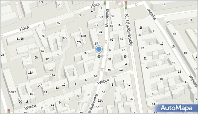 Warszawa, Mokotowska, 65, mapa Warszawy