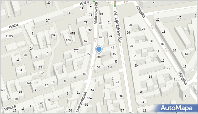 Warszawa, Mokotowska, 58, mapa Warszawy