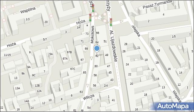 Warszawa, Mokotowska, 62, mapa Warszawy