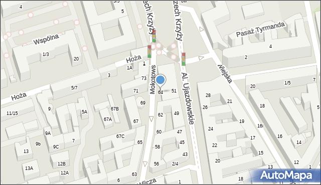 Warszawa, Mokotowska, 64, mapa Warszawy
