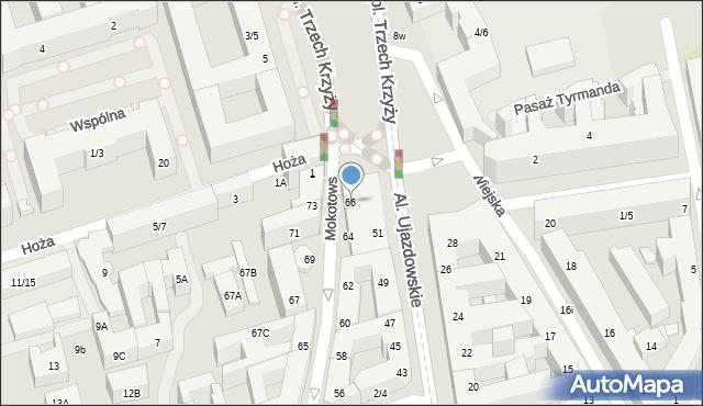 Warszawa, Mokotowska, 66, mapa Warszawy