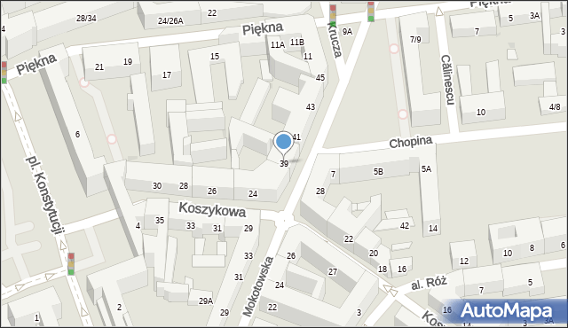 Warszawa, Mokotowska, 39, mapa Warszawy