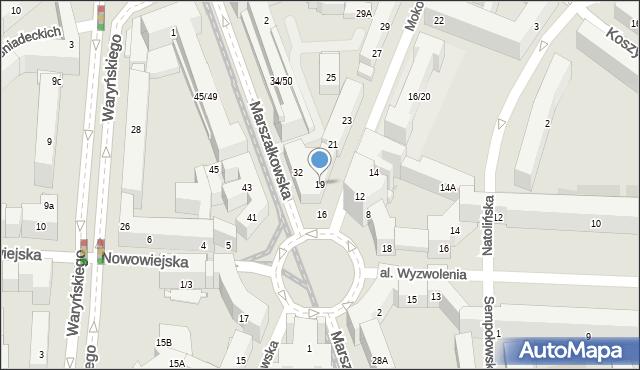 Warszawa, Mokotowska, 19, mapa Warszawy