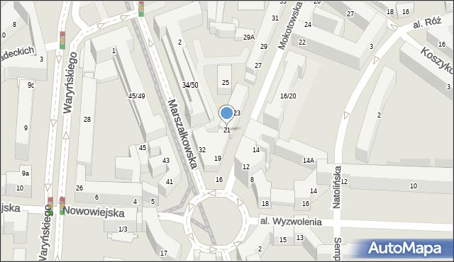 Warszawa, Mokotowska, 21, mapa Warszawy