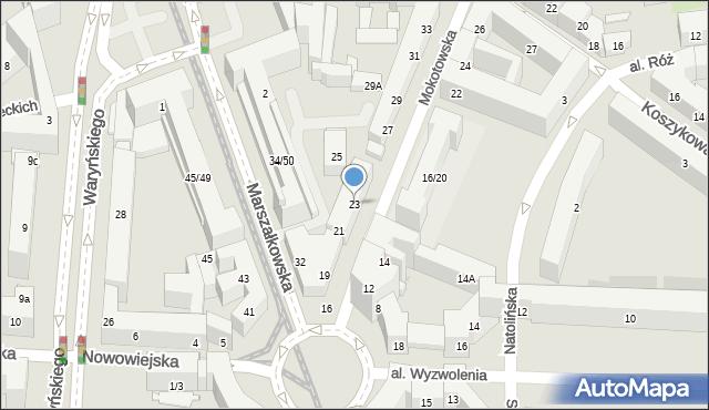 Warszawa, Mokotowska, 23, mapa Warszawy