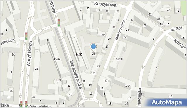 Warszawa, Mokotowska, 25, mapa Warszawy