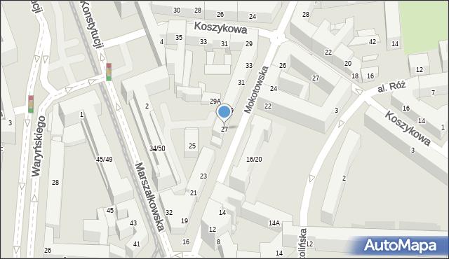 Warszawa, Mokotowska, 27, mapa Warszawy