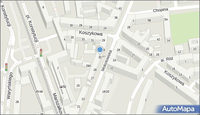 Warszawa, Mokotowska, 31, mapa Warszawy