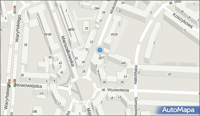 Warszawa, Mokotowska, 14p, mapa Warszawy