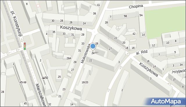 Warszawa, Mokotowska, 24, mapa Warszawy
