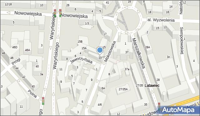 Warszawa, Mokotowska, 13, mapa Warszawy
