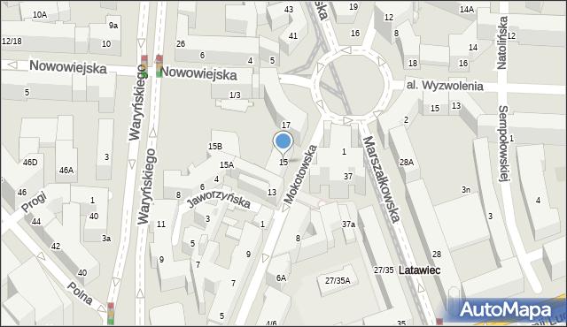Warszawa, Mokotowska, 15, mapa Warszawy