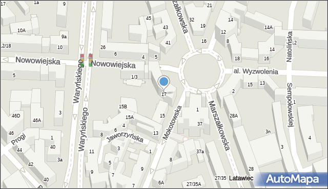 Warszawa, Mokotowska, 17, mapa Warszawy