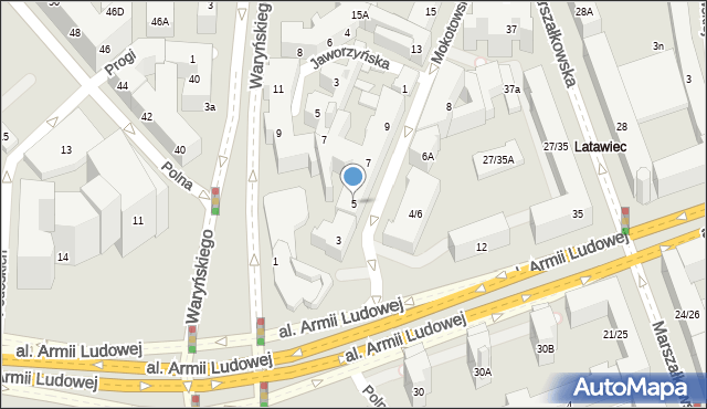 Warszawa, Mokotowska, 5, mapa Warszawy