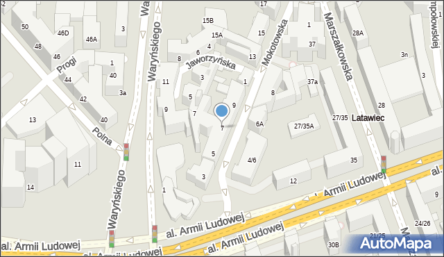 Warszawa, Mokotowska, 7, mapa Warszawy