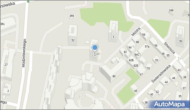 Warszawa, Modra, 1, mapa Warszawy