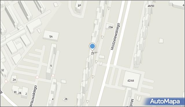 Warszawa, Modzelewskiego Zygmunta, 23, mapa Warszawy